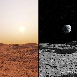 moon mars surface 3D