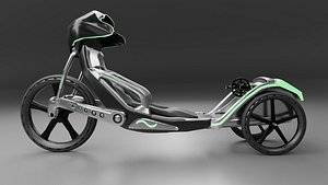 3D Silver Grey Trike Bike Glows in the Dark model