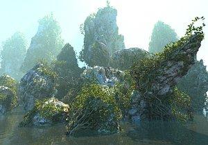 3D model Rainforest Rocks