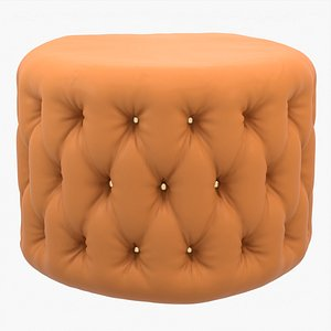 Tufted leather ottoman 3D model