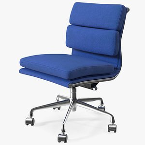 3D Chair Conference with no Arms Blue