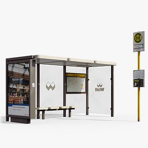 Typical German Bus and Tram Stop with Sign from Berlin 3D model