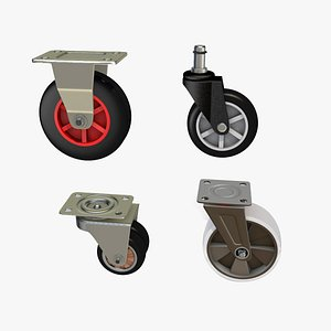 Set of realistic high quality caster wheels for cart 3D model 3D model