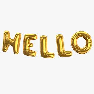 3D Foil Balloon Words Hello Gold model