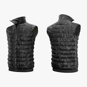 3D Jacket Sleeveless Camouflage Black Lowpoly model