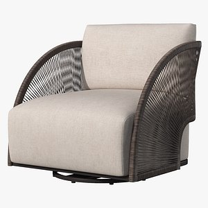 3D OUTDOOR PAVONA SWIVEL LOUNGE CHAIR 2021 by RESTORATION HARDWARE