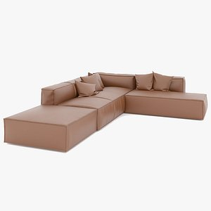 3D Brown leather sectional Sofa model