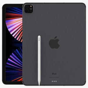 3D Apple iPad Pro 12.9 inch 2021 Space Grey With Pencil