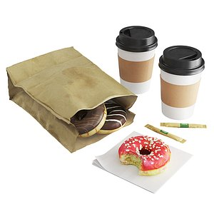3D Donuts with Coffee To GO model