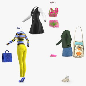 Teenage Girl Clothing Collection 3D model