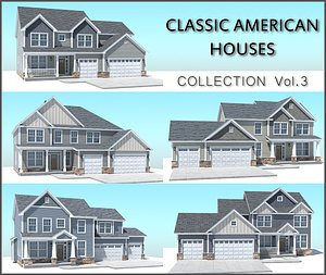 3D classic american house