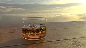 3D A glass of whiskey model