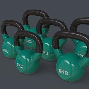 3D PBR 4-16KG Kettlebell V1 - Green model