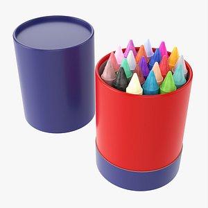 Crayons in cardboard tube box 3D model