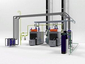 3D Viessmann Vitoplex 300-390 industrial boilers model