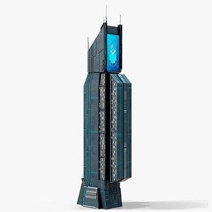 3D Sci-Fi Futuristic Skyscraper PBR 03