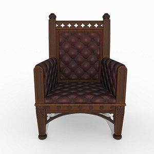 Victorian upholstered armchair 3D model