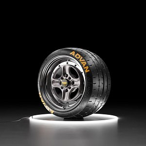 3D Car wheel Yokohama A052 tire with WORK EQUIP 40 rim model