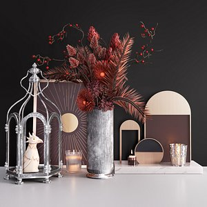 3D Decor Set With Cage and Flowers