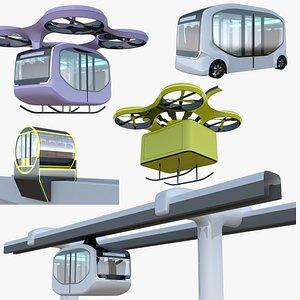 Drones minibus trains big collection 3D model