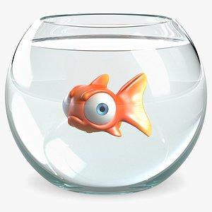 Cartoon Fish In Fish Tank 3D