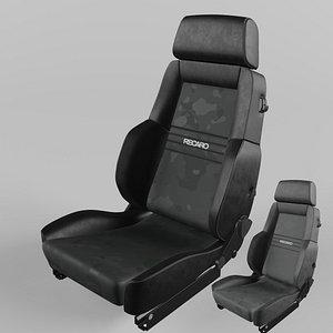 3D RECARO Expert Comfort Leather black Artista black and Grey Seat model