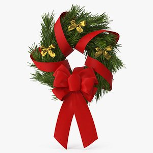 Christmas Wreath with Bows and Ribbon 3 3D model