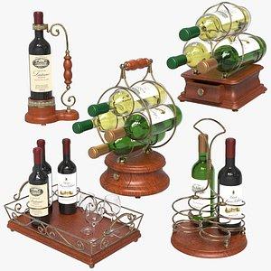 3D Wine Bottle Holders Set