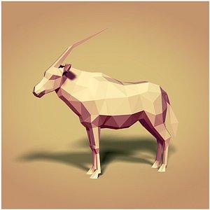 cartoon oryx 3D model