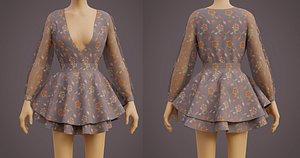 Floral Layered Circle Dress - Ruffle Summer Sundress 3D