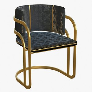 Dining Chair Gold Luxury 3D