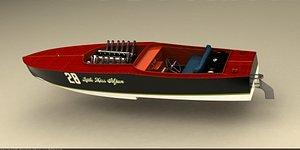 3D racing wooden boat