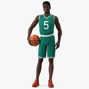 3D Dark Skin Teenager Basketball Player Standing Pose