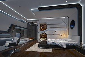 3D Science fiction bedroom hotel guest room model room