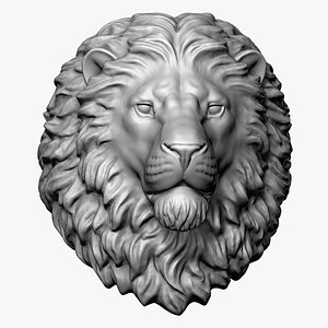 Calm Lion Head Sculpture Round Base 3D model
