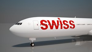 swiss airlines 777 300 3D model