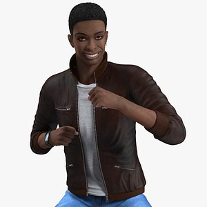 Teenager Dark Skin Street Outfit Rigged for Cinema 4D 3D model