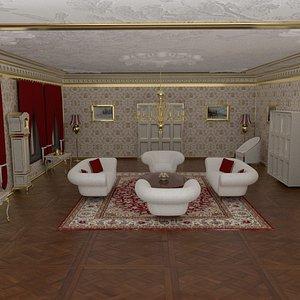 3D Victorian living Room model