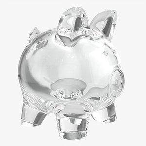 3D Glass piggy money bank
