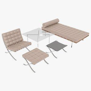 Knoll Beige Leather Barcelona Complete Set 3D model