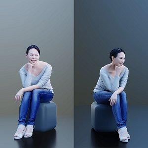 10005 Bao - Sitting Woman Leaning Forward 3D model