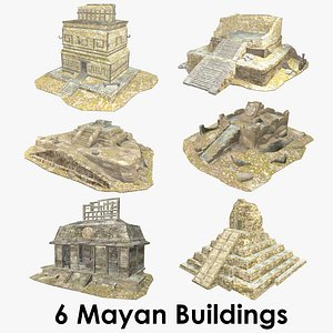 Mayan Buildings Collection XL - Low Poly - Textured 3D model