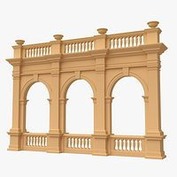 Triple Arch with Balustrade 011