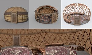 Old Mongolian Yurt and Interior 3D model