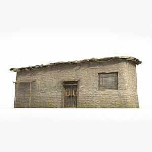 l-shaped thatched hut 3D model