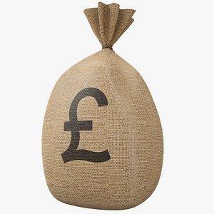 Money Bag v3 Pound with PBR 4K 8K model