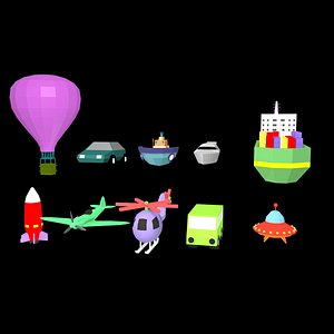 low poly cartoon vehicle collection model