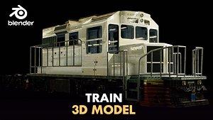 train flat wagon 3D model