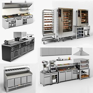 3D Commercial Kitchen equipment collection model