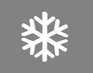 Cartoon snowflake - white 3D model